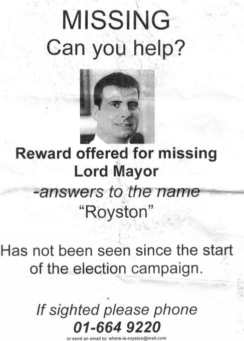 Royston Brady Missing Poster