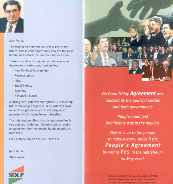 Sdlp Yes To The Good Friday Agreement 1998 Irish Election