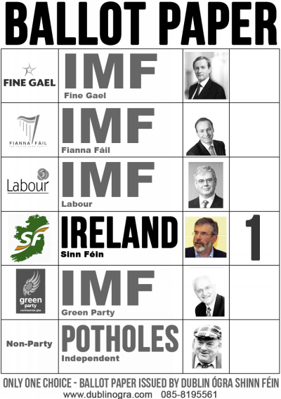 campaign literature templates - mock ballot paper from dublin sinn fein youth 2011