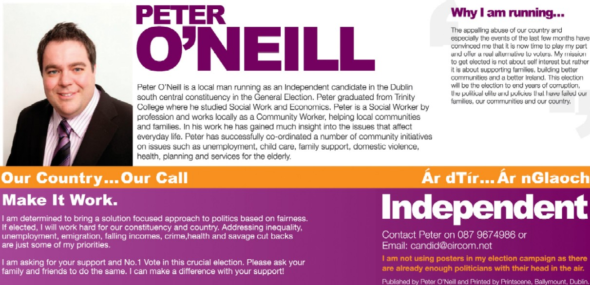 Flyer for peter o neill independent dublin south central for Campaign literature templates