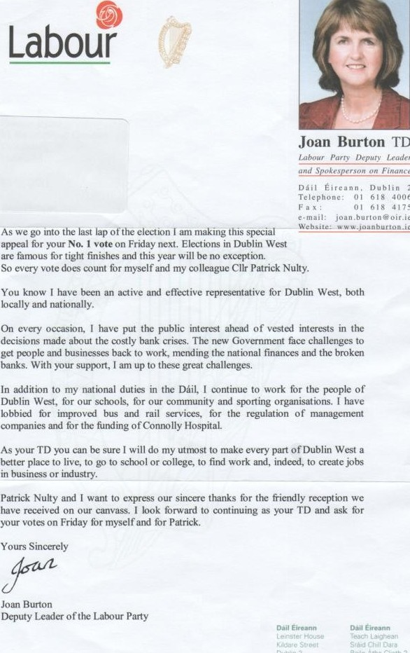 Letter from Joan Burton to voters in Dublin West -2011 GE