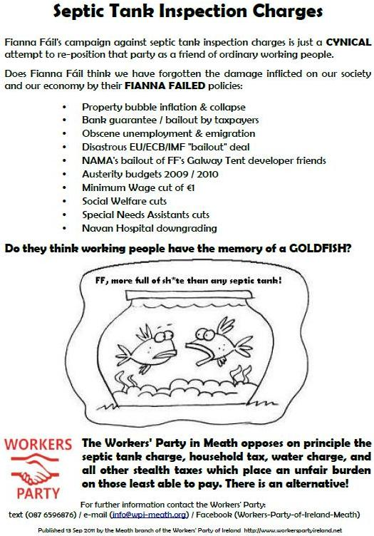 """Septic Tank Inspection Charges"""" leaflet from The Workers"""