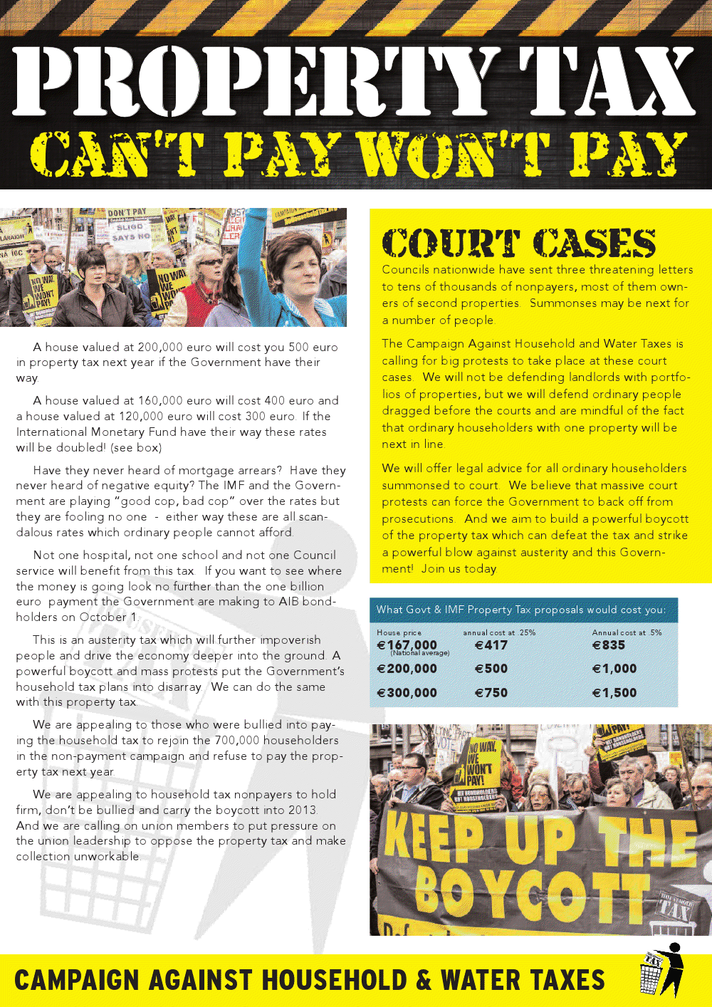 """""""Property Tax ..Can't Pay Won't Pay"""" Leaflet From The"""