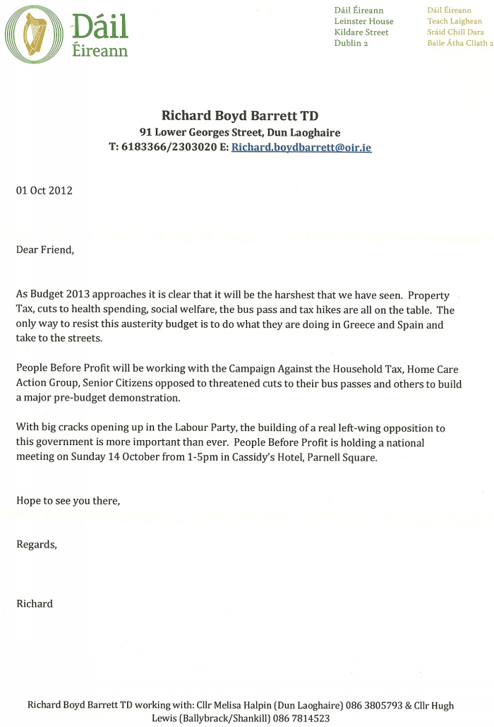 Letter From Richard Barrett Re The People Before Profit