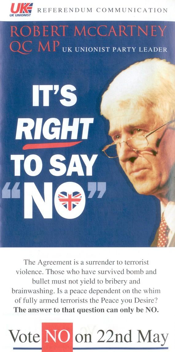 Its Right To Say No Good Friday Agreement Leaflet From Uk