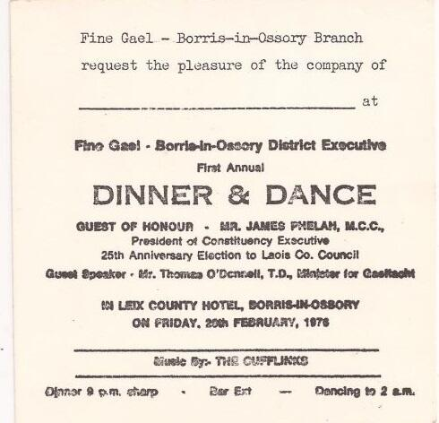 An Invitation To The 1976 Fine Gael Borris In Ossory First Annual