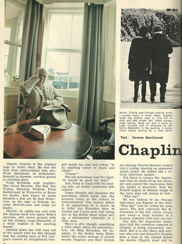 1971 article about Charlie Chaplin and his family holidaying in Waterville, Co Kerry (2/5)