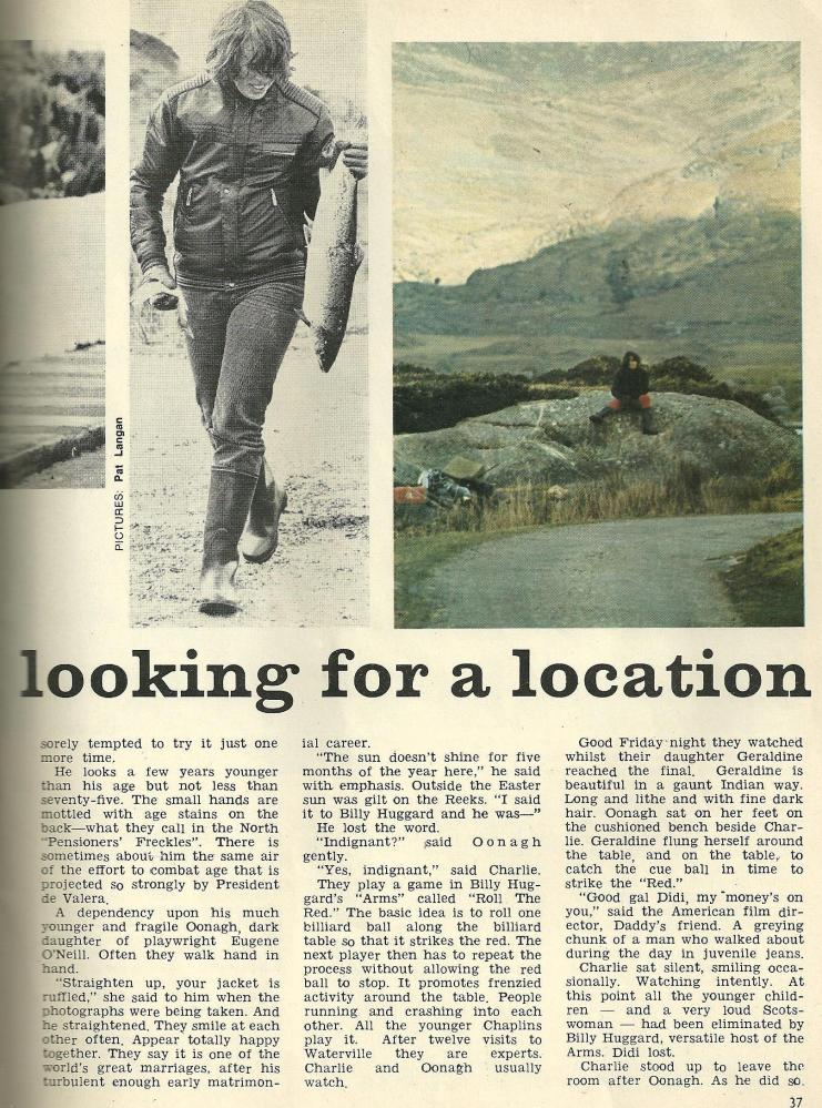 1971 article about Charlie Chaplin and his family holidaying in Waterville, Co Kerry (3/5)