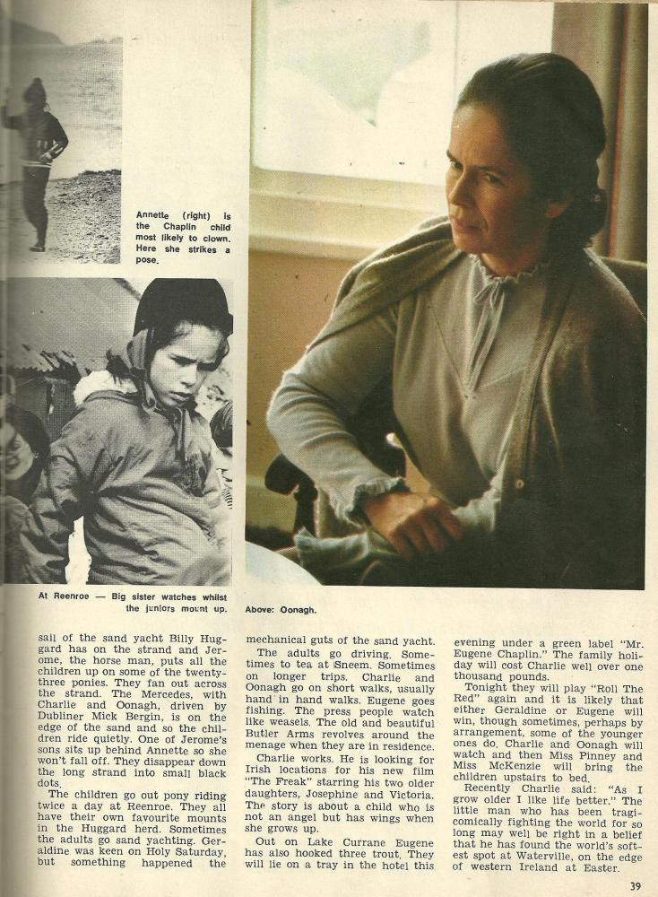 1971 article about Charlie Chaplin and his family holidaying in Waterville, Co Kerry (5/5)