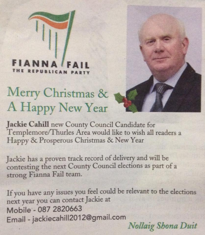 Merry Christmas and a Happy New Year from Jackie Cahill -Fianna Fail ...