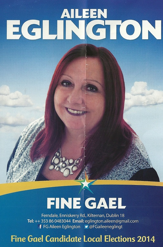 Leaflet from Aileen Eglington -Fine Gael -Glencullen Sandyford -2014 Local Elections (1/4)
