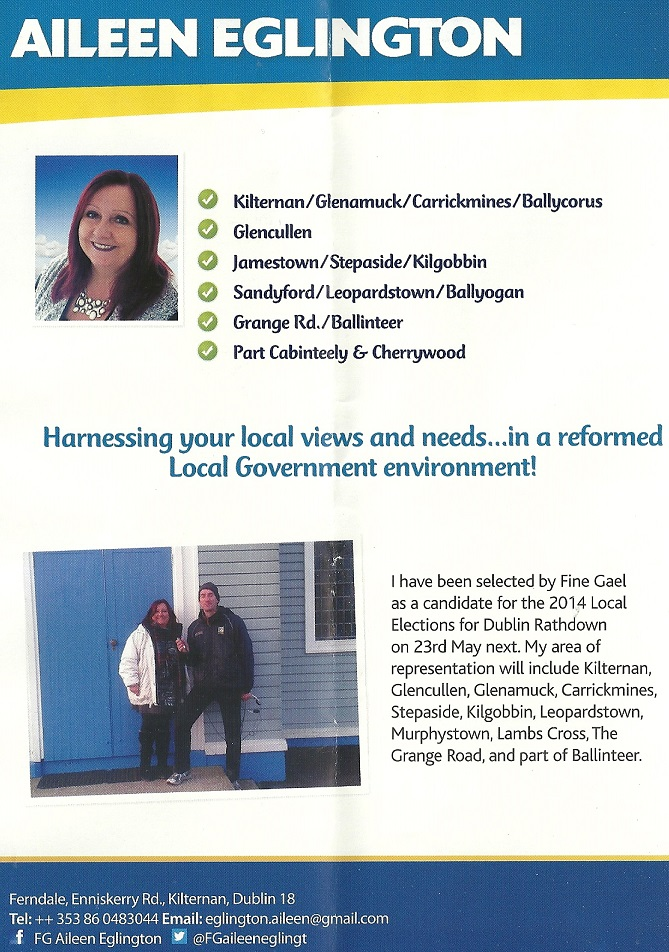 Leaflet from Aileen Eglington -Fine Gael -Glencullen Sandyford -2014 Local Elections (2/4)