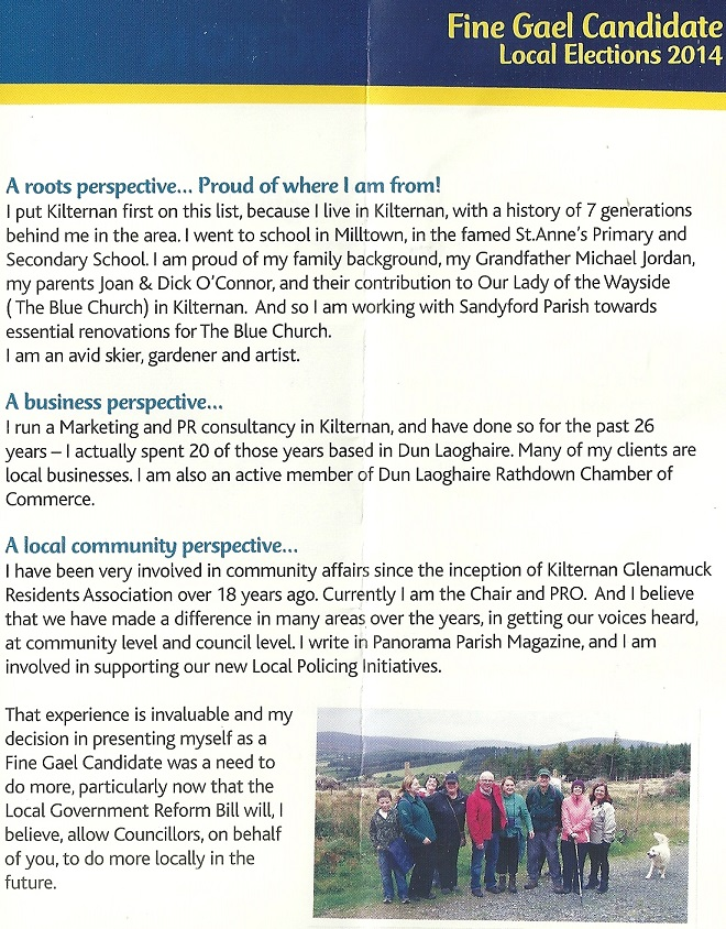 Leaflet from Aileen Eglington -Fine Gael -Glencullen Sandyford -2014 Local Elections (3/4)