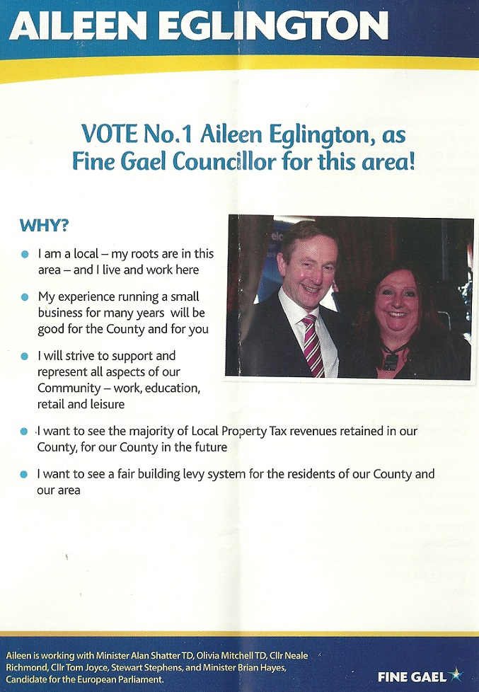 Leaflet from Aileen Eglington -Fine Gael -Glencullen Sandyford -2014 Local Elections (4/4)