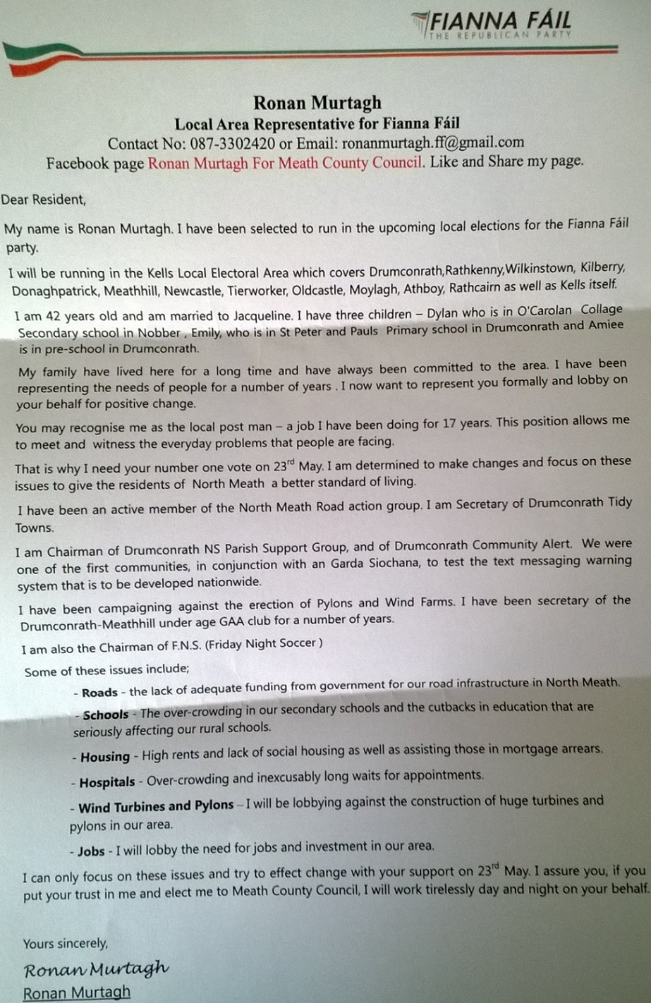 leaflet and letter from ronan murtagh fianna fail kells 2014 rmurtagh3