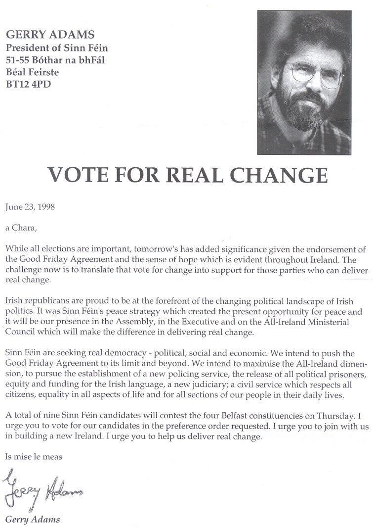 """Vote for Real Change"""" 1998 Assembly Elections letter from Gerry ..."""