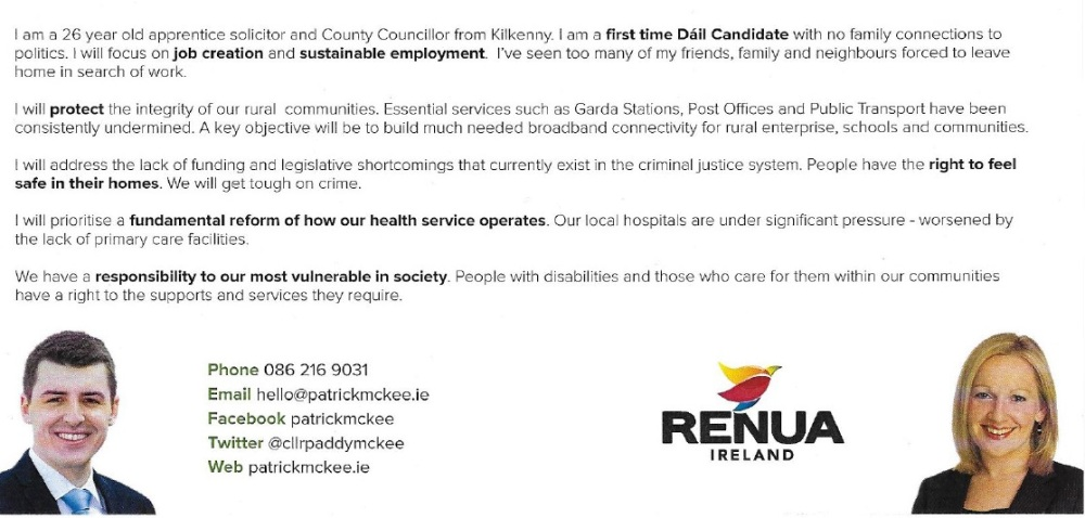 Leaflet from Patrick McKee -Renua Ireland - 2015 Carlow Kilkenny By-Election (2/2)