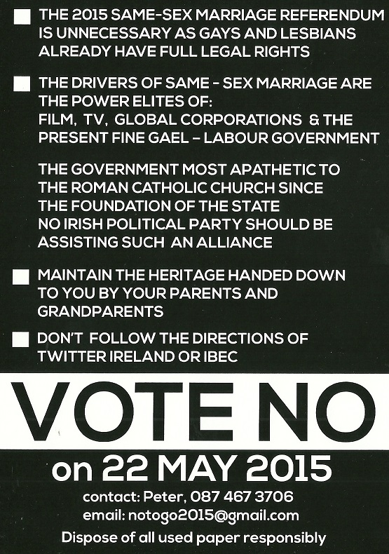 Vote No leaflet from 'notogo2015' from the Marriage Equality Referendum