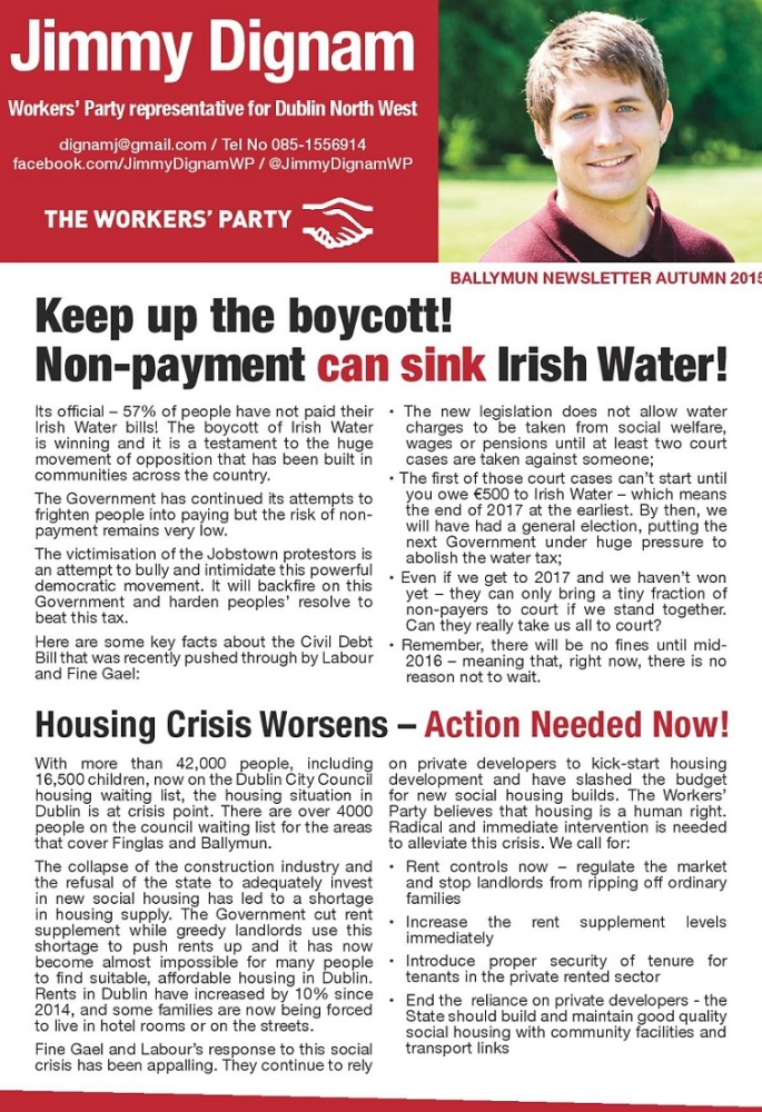 Ballymun Newsletter Autumn 2015 from Jimmy Dignam -The Workers' Party -Dublin North West (1/2)