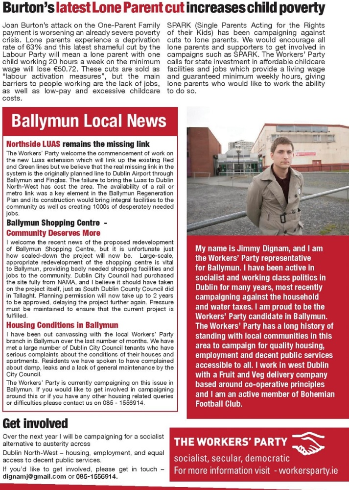 Ballymun Newsletter Autumn 2015 from Jimmy Dignam -The Workers' Party -Dublin North West (2/2)
