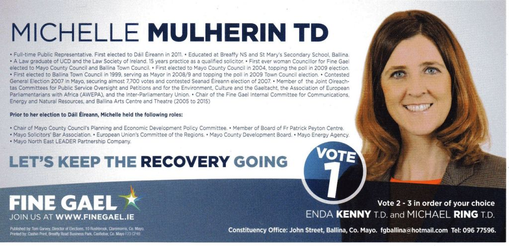 Michelle Mulherin-Fine Gael_Mayo_front