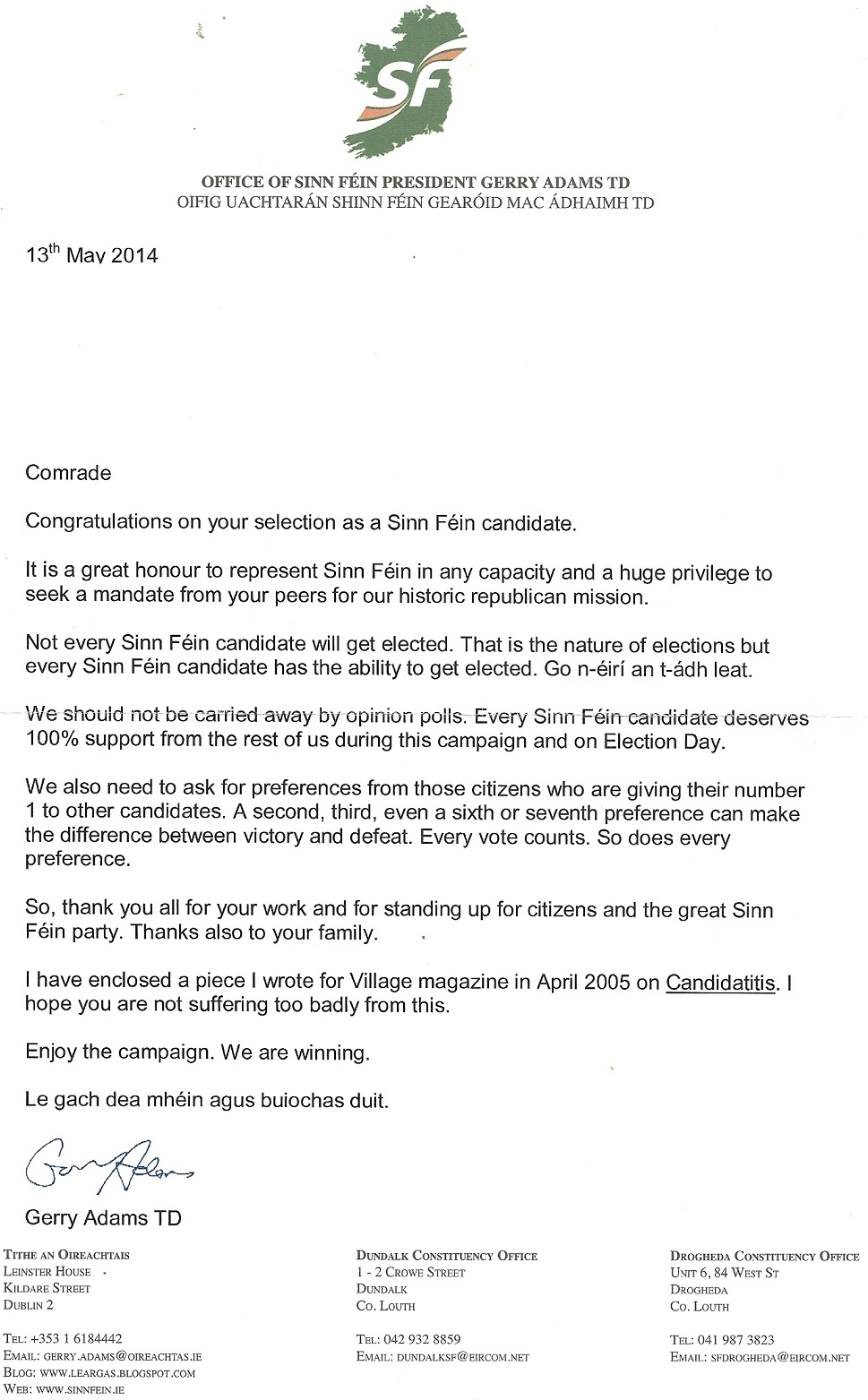 Letter and article from gerry adams to sinn fein 2014 local candisatelettersf1 thecheapjerseys