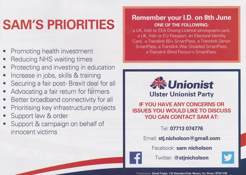 Leaflet from Sam Nicholson -Ulster Unionist -Newry and