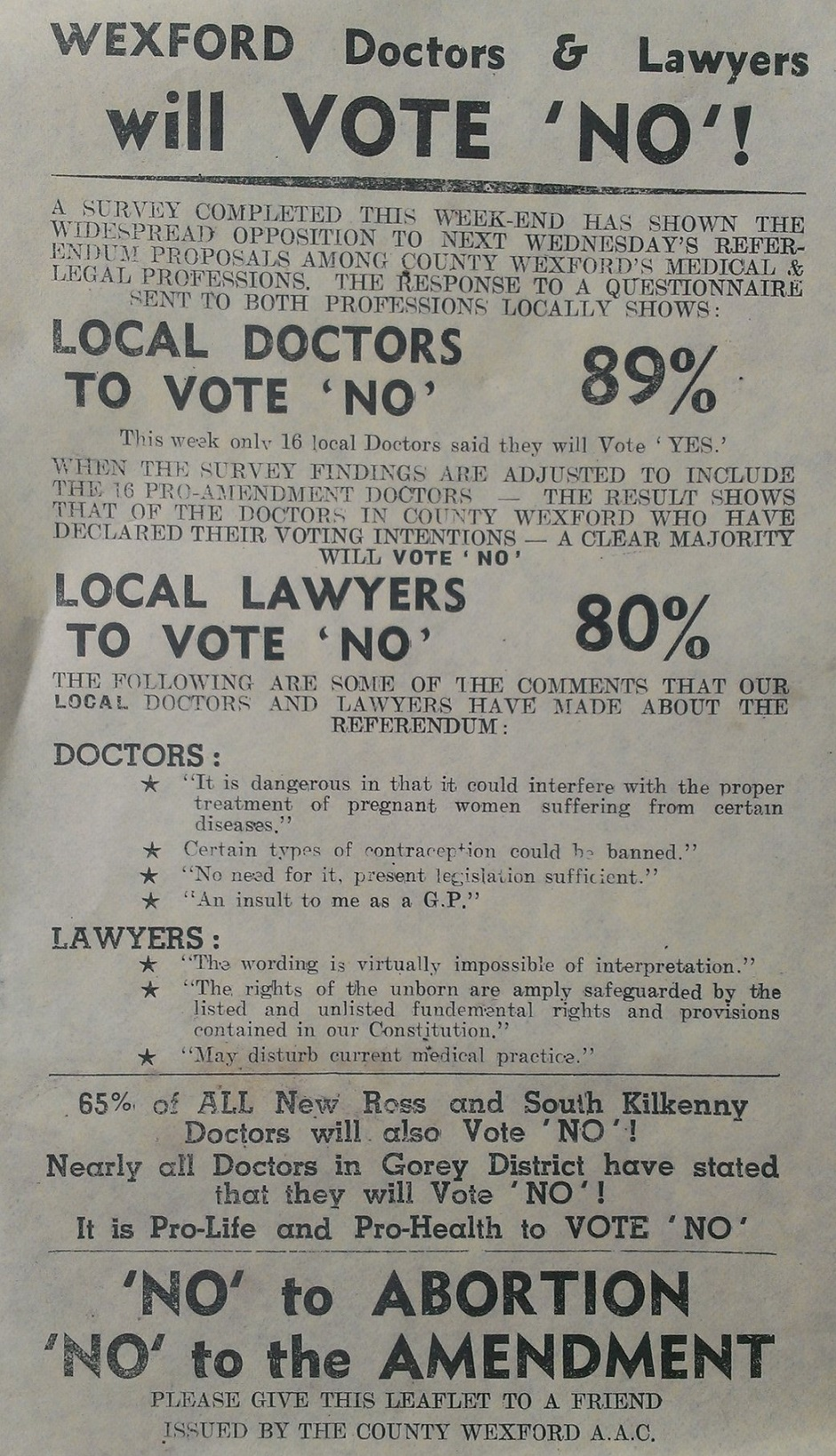 From 1983 wexford doctors lawyers will vote no for The wexford