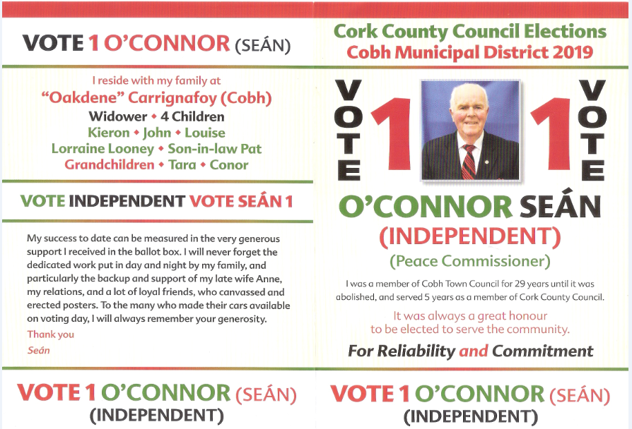8a11b8142fe8 Leaflet from Seán O'Connor -Independent – Cobh #LE19   Irish Election  Literature